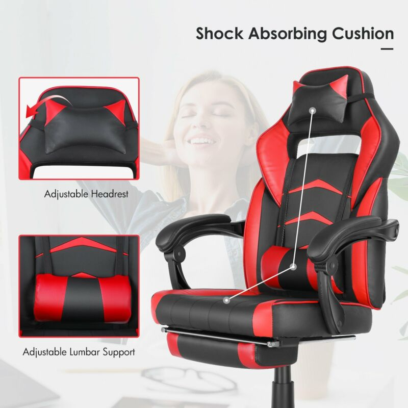 Gaming Chair Ergonomic Office Height Adjustable Footrest Racing Style Recliner