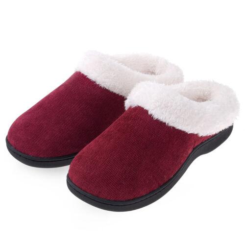 Women's Fuzzy Warm Slippers Comfort Slip On Memory Foam Hous