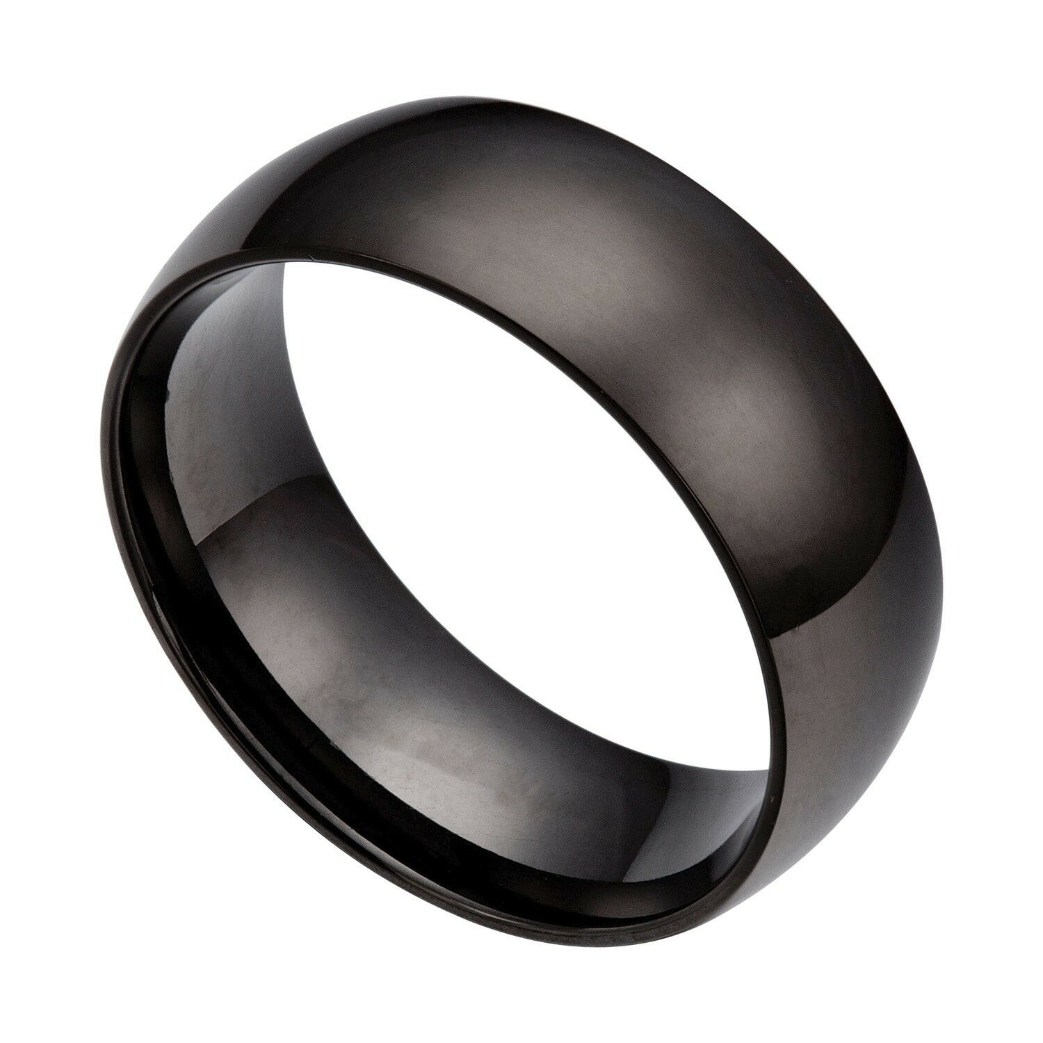Stainless Steel Mens Wedding Band Ring 8mm: Men's Black 8mm Stainless Steel Wedding Band Ring Size 6 5