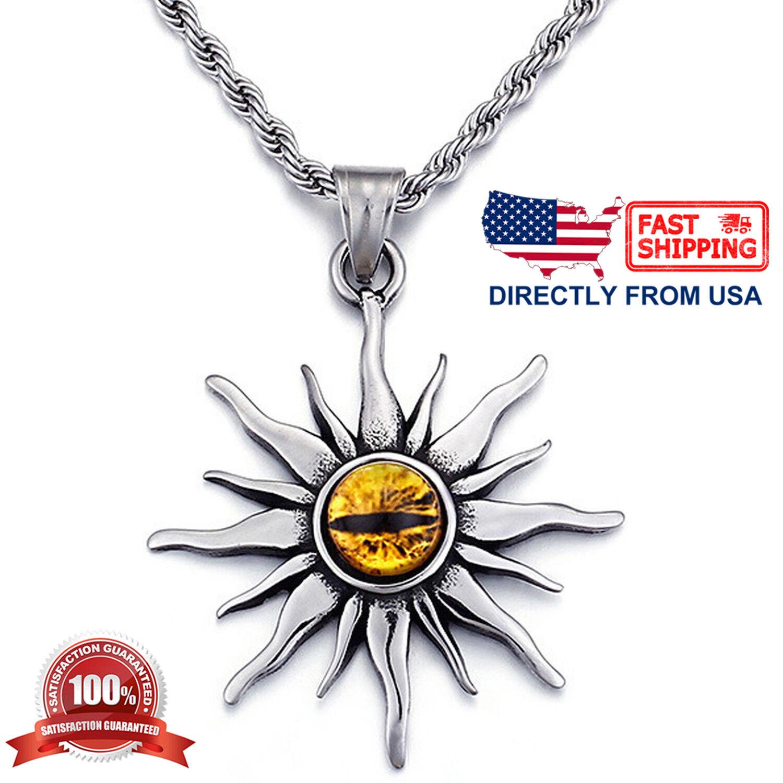 Men's Stainless Steel Evil Eye Chaos Sun Star Biker Pendant Necklace Chains, Necklaces & Pendants