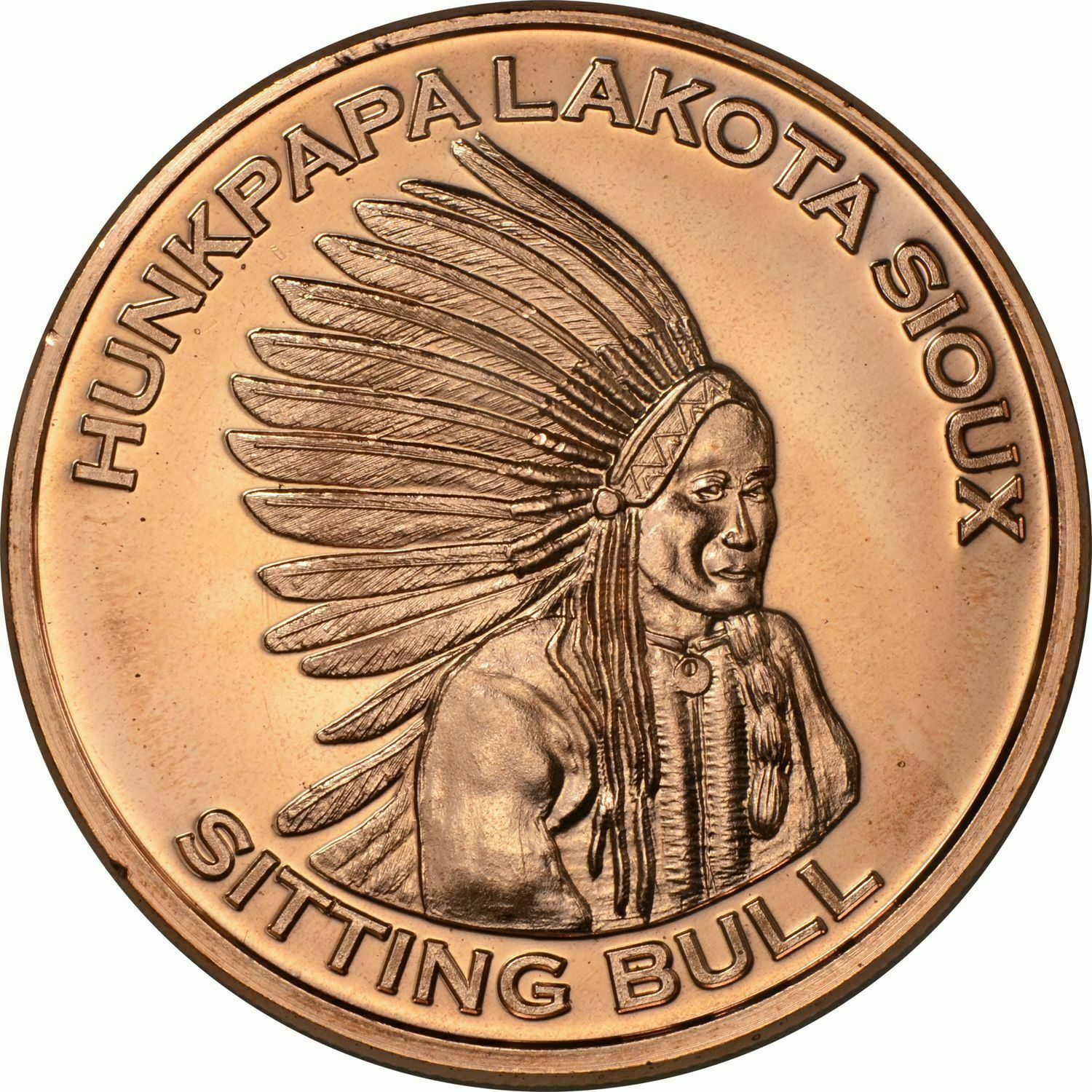 1 Ounce .999 Copper Round Sitting Bull 5 Coins