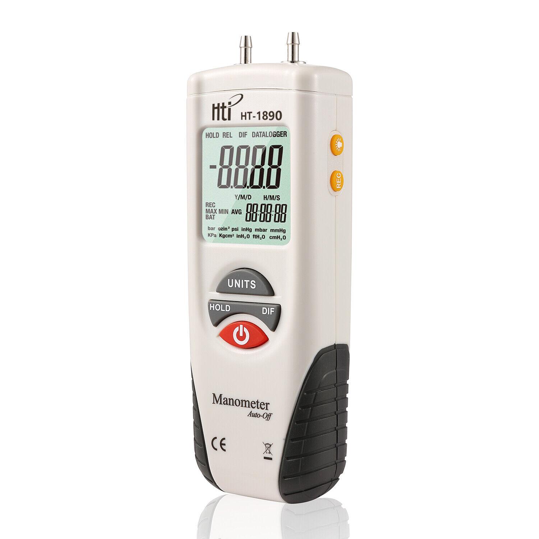 Hti HT-1890 Digital Manometer,Dual Port Air Pressure Gauge H