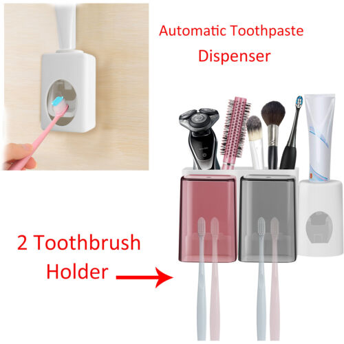 Multi-Functional Toothpaste Dispenser Automatic Squeezer Wall Mount Stand White