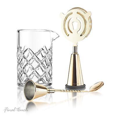 Brass Cocktail Mixing 3pc Set Vintage Bar Tools Accessories Drinks Making Kit UK ()