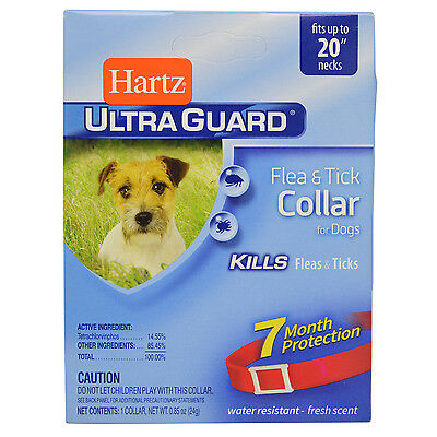 "Hartz Ultraguard Flea and Tick Collar for Dogs 20"" Neck RED 7 Months"