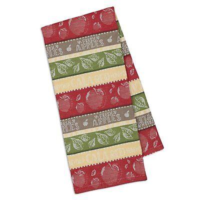 Apple Kitchen Tea Towel - Design Imports Jacquard Weave APPLE STRIPE Cotton Kitchen Tea Towel