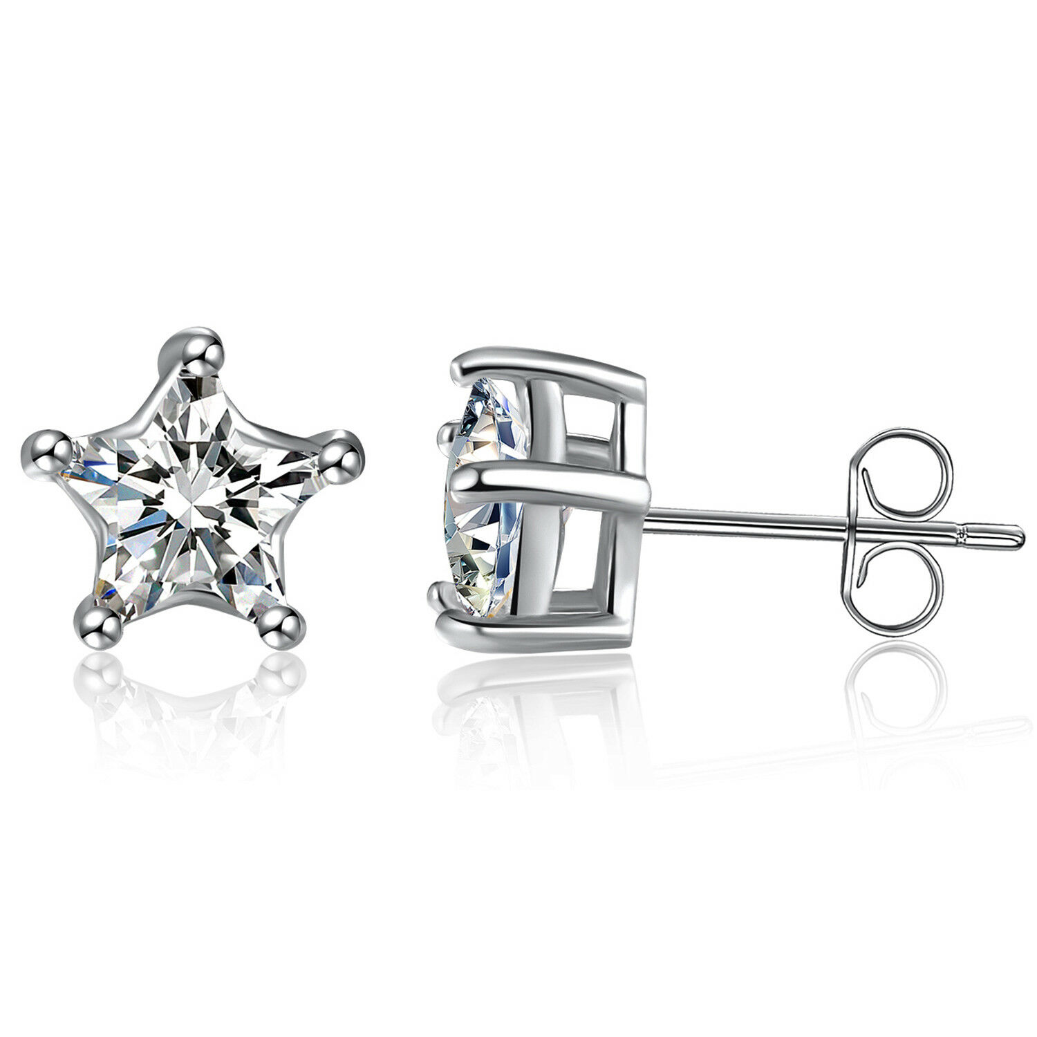 15ec19b3b Details about 925 Sterling Silver 5 Prong Star Cubic ZIrconia Stud Earrings  14k Gold Plated