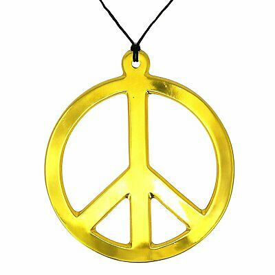 Skeleteen Hippie Peace Sign Medallion - 1960s Gold Peace Symbol Necklace