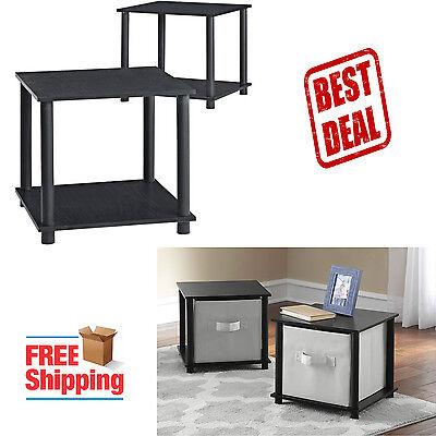 منضدة جانب السرير جديد Night Stand Bedroom Bedside Furniture Set of 2 Sofa End Side Table Storage Black