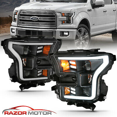 2015-2017 Black Dual Square Projector [LED DRL Bar] Headlights For Ford -