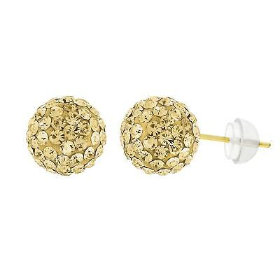 14k Yellow Gold 8mm Champagne Austrian Disco Crystal Ball Studs