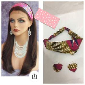 African fabric headband and earrings