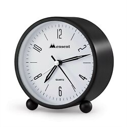 Desk Clock Battery Operated Non Ticking Analog Alarm Bedside W Night Light NEW