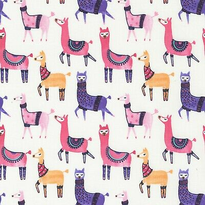 Fabric Baby Fancy Llamas on Blue Cotton by the 1/4 yard
