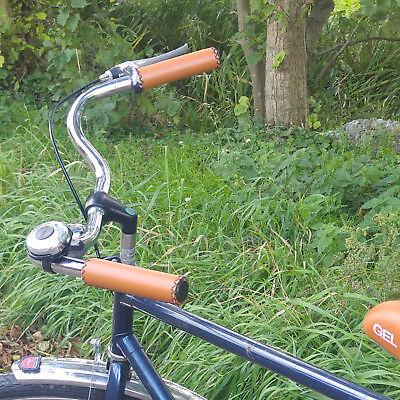 Retro Leder Braun (Fahrradgriffe Retro Leder Look Kunstleder handvernäht Fahrrad Lenker Griff braun)