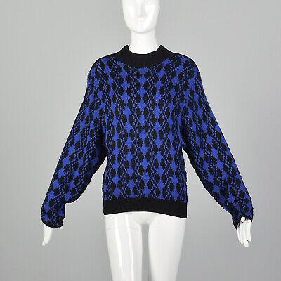 80s Sweatshirts, Sweaters, Vests | Women M 1980s Sweater Blue Black Abstract Geo Diamond Pattern Zipped Mockneck 80s VTG $127.50 AT vintagedancer.com