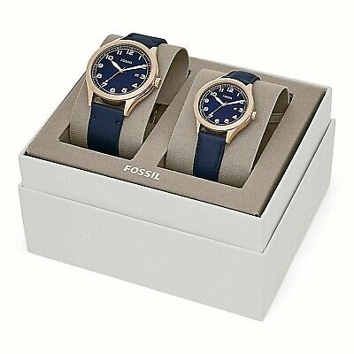 NWT Fossil Couple Watch His & Her Navy Blue Leather WYLIE BQ2470 BQ2470SET $265 Her Couple Watches
