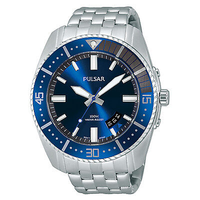 Pulsar Men's PS9319 Quartz Stainless Steel Blue Dial Dress Watch