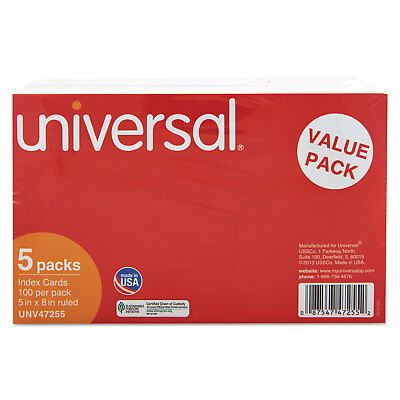 Universal Ruled Index Cards 5 X 8 White 500pack 47255