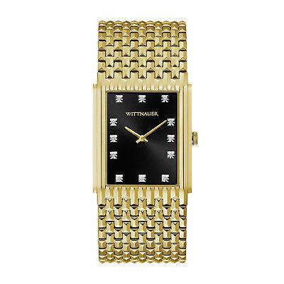 (Wittnauer Men's WN3083 Quartz Diamond Accents Black Dial Gold-Tone 33mm Watch)