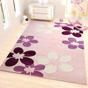 tappeto cameretta dei bambini reticolo di fiori in fucsia bianco e lilla con ebay. Black Bedroom Furniture Sets. Home Design Ideas