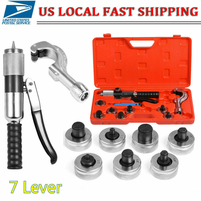 Hydraulic Tube Expander Swaging 7 Lever Expander Tools Kit HVAC Tool w/ Case USA