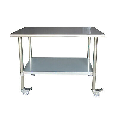 Sportsman Series Stainless Steel Work Table With Casters 24 X 48 Inches