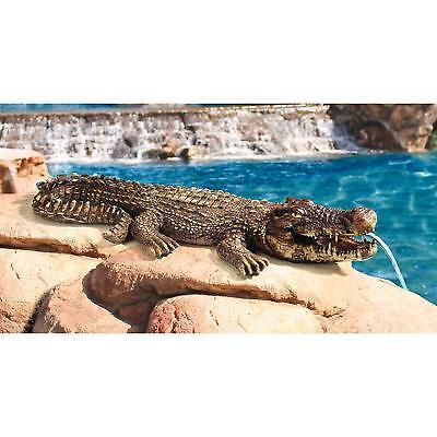77cm Crocodile Water Feature Spitting Sculpture Ornament Patio Garden Statue