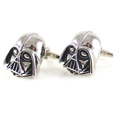 Silver Tone Darth Vader Mask Dark Lord Sith Star Wars Men's Cufflinks 0580 (Dark Vader Mask)