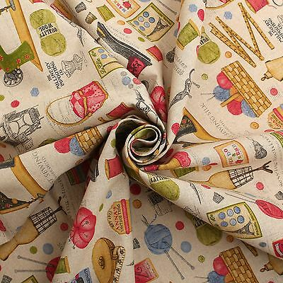 COTTON LINEN VINTAGE SEWING MACHINE PRINT CUSHION CURTAIN UPHOLSTERY FABRIC for sale  Shipping to United States