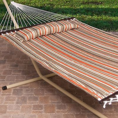 2 Person Free Standing Hammock 13 Ft. Stripe Quilted with Steel Stand W Pillow