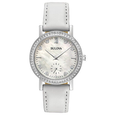 Bulova Women's 96L245 Quartz Crystal Accents White Leather Strap 32mm Watch