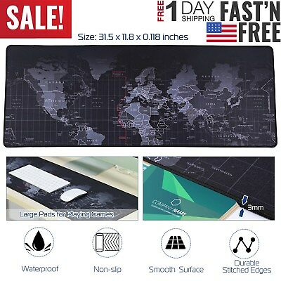 Large Gaming Mouse Pad Non-slip Desk Keyboard Mat World Map Surface 80x30cm Us