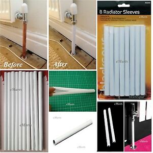 8 x 15.6CM WHITE RADIATOR PIPE COVERS SLEEVES SHROUDS SNAP AROUND YOUR PIPES NEW