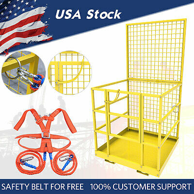 Forklift Safety Cage Lift Man Work Platform Basket Slip-on W Safety Harness