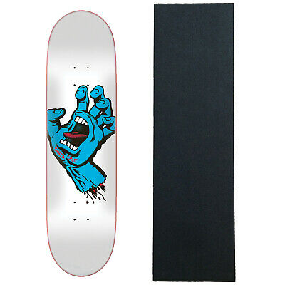 "Santa Cruz Skateboard Deck Screaming Hand Taper Tip White 8.25"" with Grip"