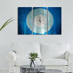Statements2000 Metal Wall Clock Art Panels Aqua Silver Abstract Decor Jon Allen