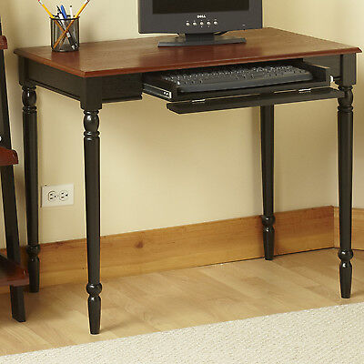 Black & Cherry Home Office Pull-Out Tray Computer Desk Living Room Furniture