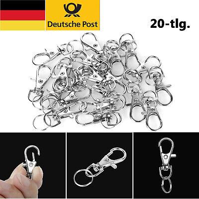 20× Kleine Karabinerhaken Mit Schlüsselring 35mm Schlüsselbund Schlüsselanhänger ()