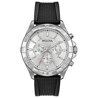 Bulova Men's Quartz Chronograph Black Rubber Silver Dial 43mm Watch 96A213