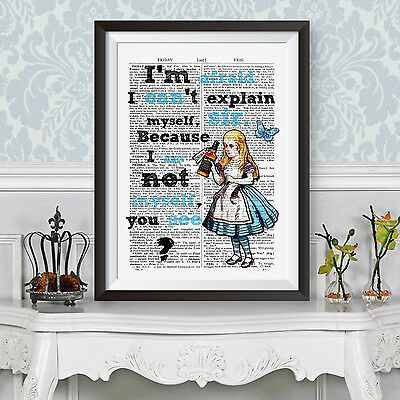 Alice in wonderland gift party poster - Tipsy Alice, gift idea, book page art (Alice In Wonderland Party Ideas)