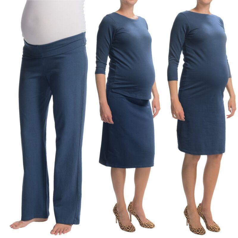 Belly Basics Maternity survival kit XS 4p set top pants dress skirt cotton BLue~