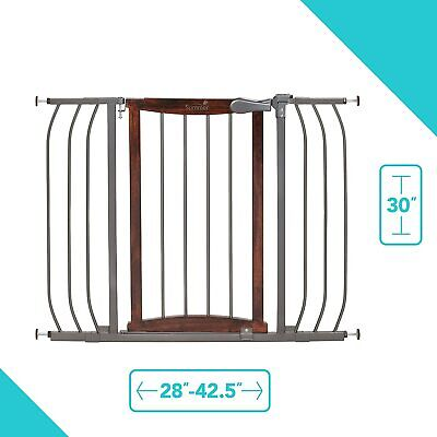 Summer Infant Anywhere Decorative Walk-Thru Baby Gate, Walnut Wood/Charcoal
