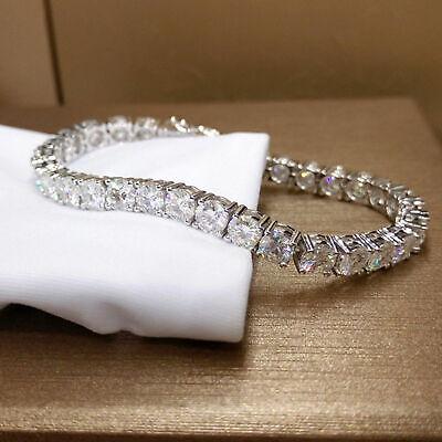 12 Ct Genuine Moissanite Womens Tennis Link Bracelet Free Stud 14k White Gold FN