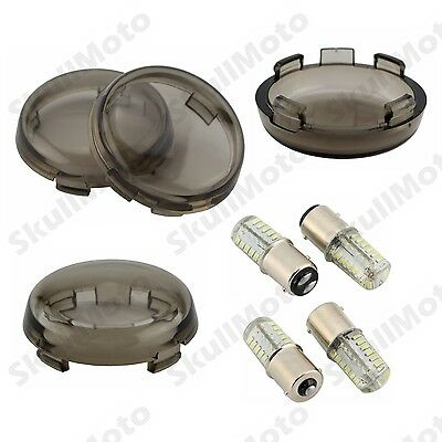 4Pcs Turn Signal Light Indicator Smoke Lenses Lens LED Bulb For Harley Touring