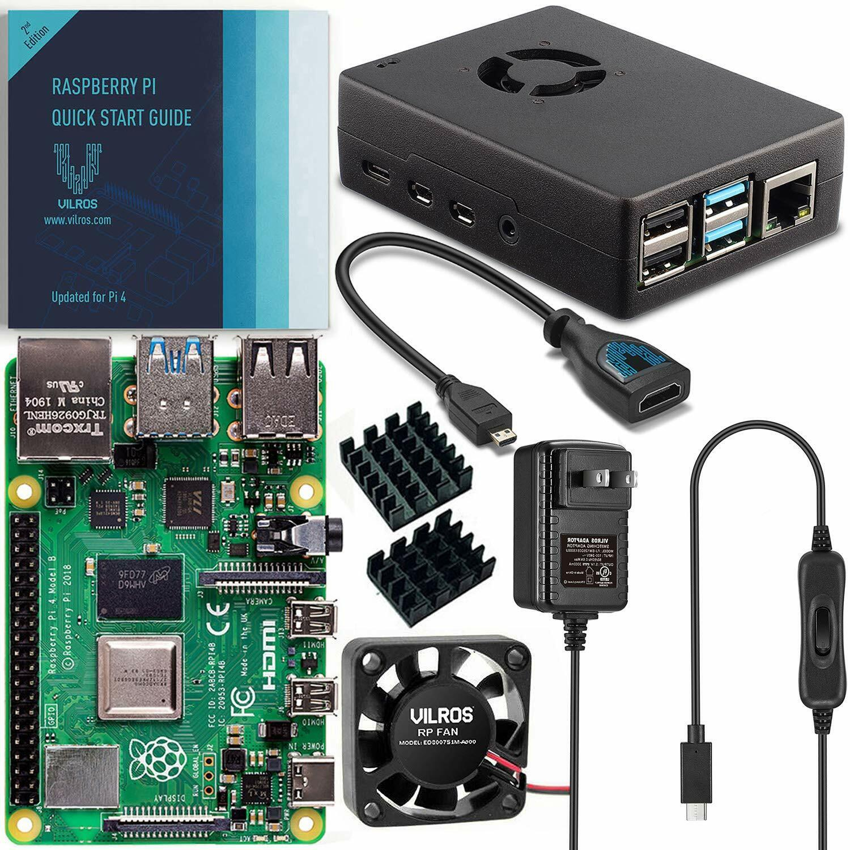 Vilros Raspberry Pi 4 Basic Starter Kit with Fan-Cooled Heavy-Duty Aluminum Case