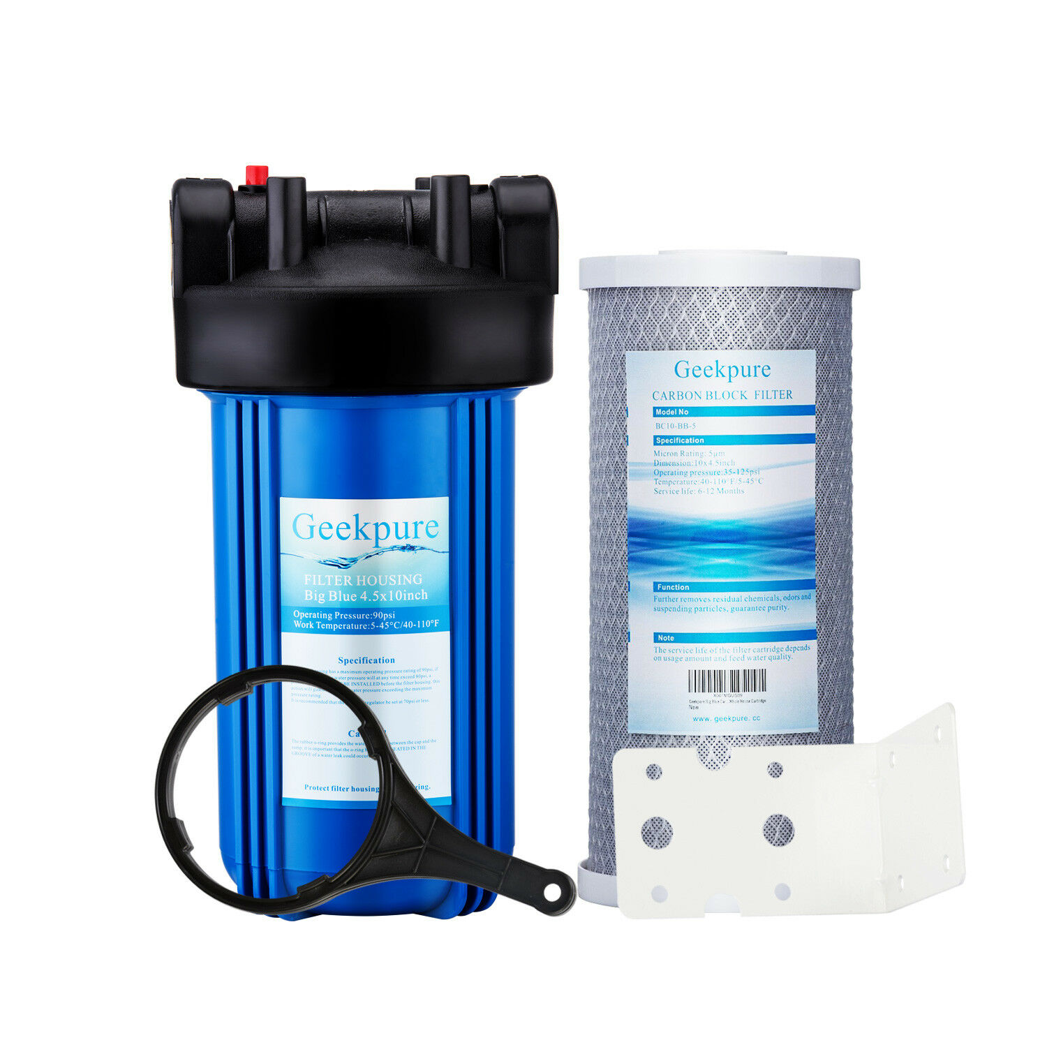10-Inch Whole House Big Blue Water Filter Housing & Carbon B