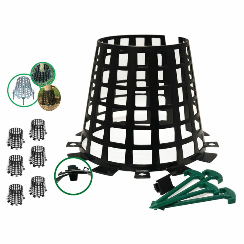 Plant Knight Tree Trunk Guard Protector for Garden Protection, 6 Pack (Black)