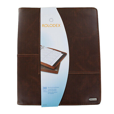 Rolodex Explorer Leather Organizer Business Card Book 240-card Capacity - Brown
