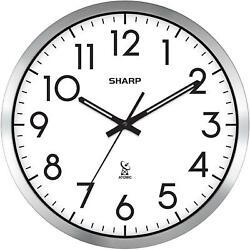 NEW Sharp Analog Atomic Wall Clock, 14 Diameter FAST FREE SHIPPING